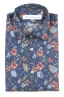 SBU 01600 Floral printed pattern blue cotton shirt 06