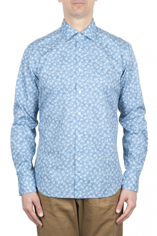 SBU 01601 Floral printed pattern light blue cotton shirt 01