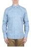 SBU 01601 Floral printed pattern light blue cotton shirt 01