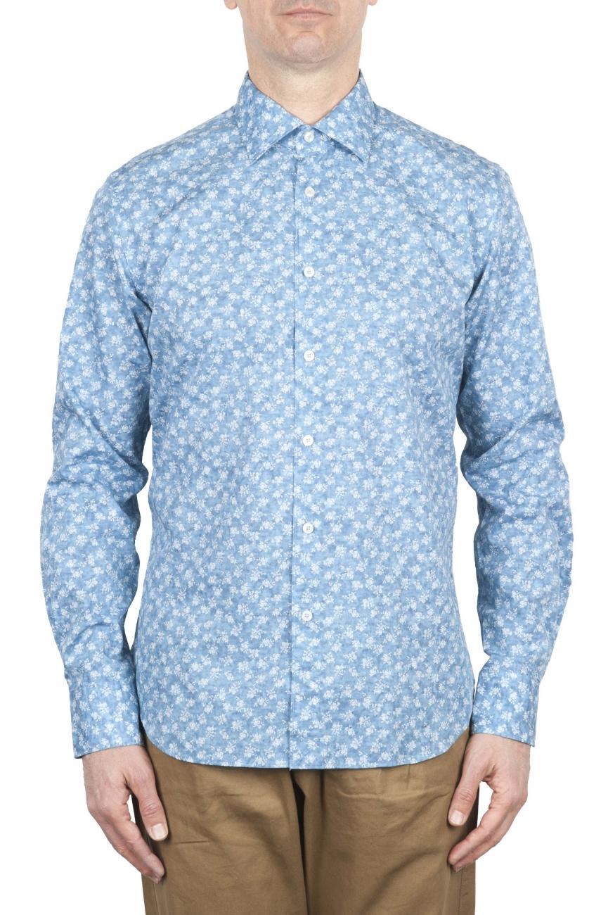 SBU 01601 Camisa de algodón estampado floral azul claro 01