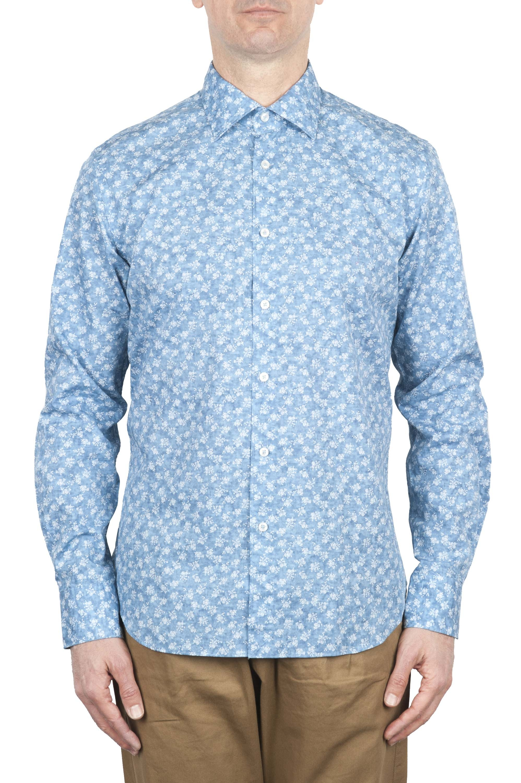 SBU 01601 花柄プリントライトブルーコットンシャツ 01
