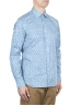 SBU 01601 Floral printed pattern light blue cotton shirt 02