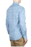 SBU 01601 Floral printed pattern light blue cotton shirt 04