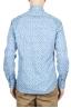 SBU 01601 Floral printed pattern light blue cotton shirt 05
