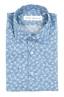 SBU 01601 Floral printed pattern light blue cotton shirt 06