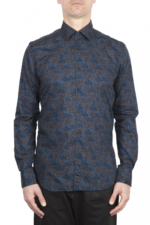 SBU 01602 Floral printed pattern blue cotton shirt 01