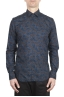 SBU 01602 Floral printed pattern blue cotton shirt 01