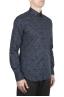 SBU 01602 Floral printed pattern blue cotton shirt 02