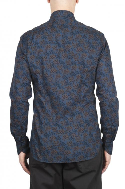 SBU 01602 花柄プリントブルーコットンシャツ 01