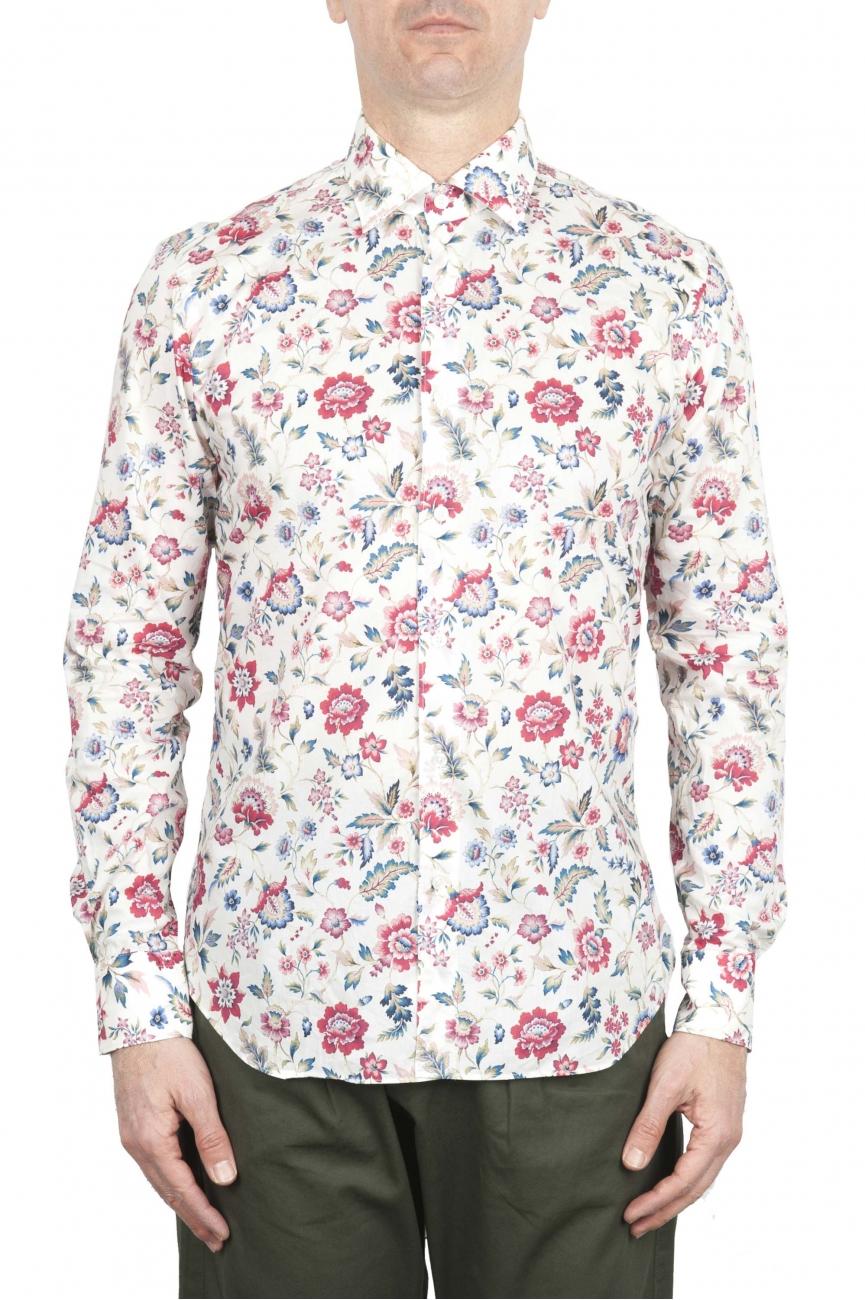SBU 01603 花柄プリント赤コットンシャツ 01