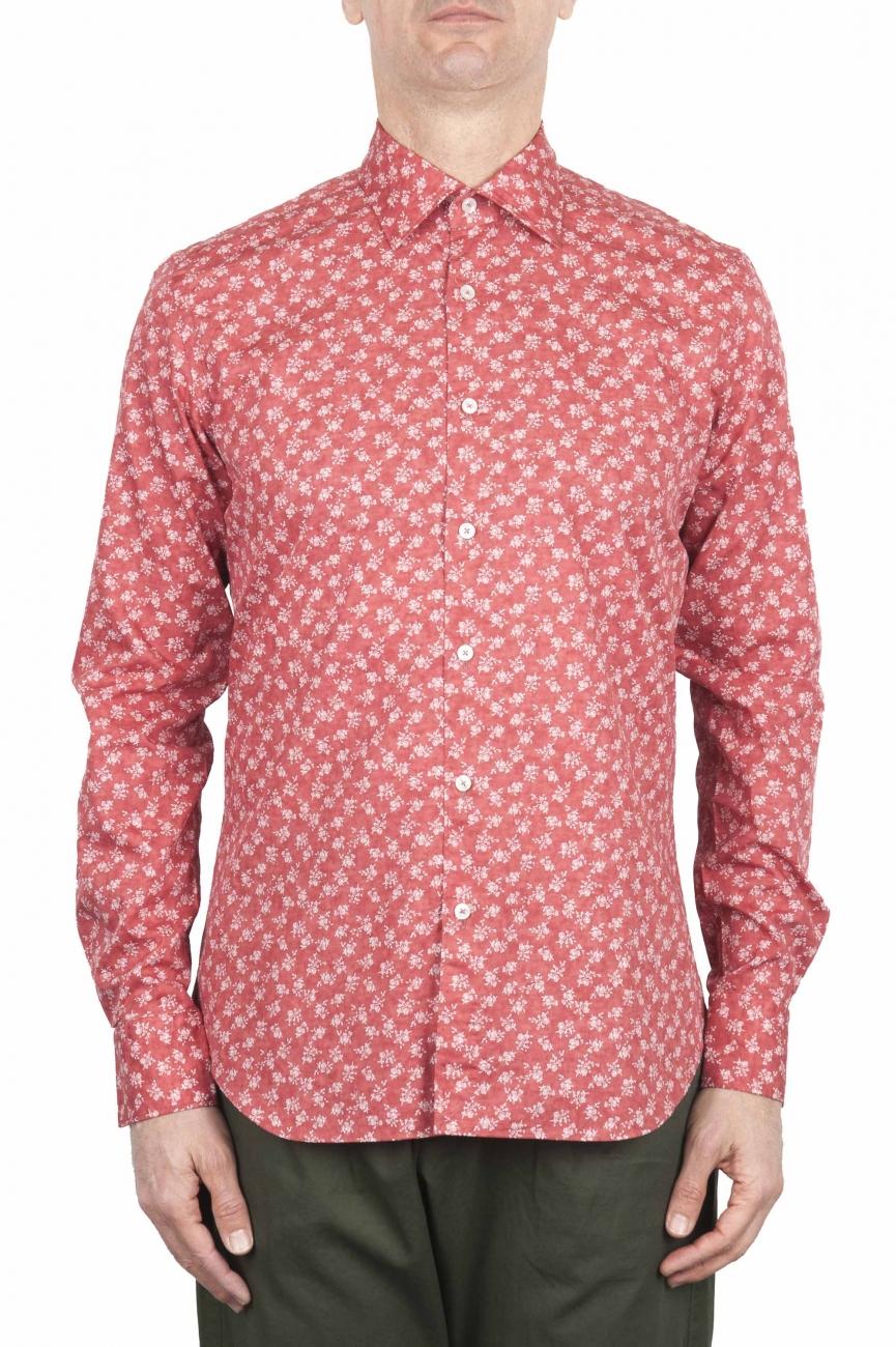 SBU 01604 花柄プリント赤コットンシャツ 01