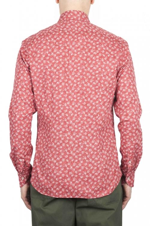 SBU 01604 Camisa de algodón estampado floral roja 01