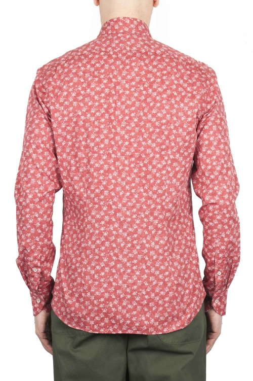 SBU 01604 Floral printed pattern red cotton shirt 01
