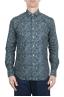 SBU 01605 Floral printed pattern green cotton shirt 01