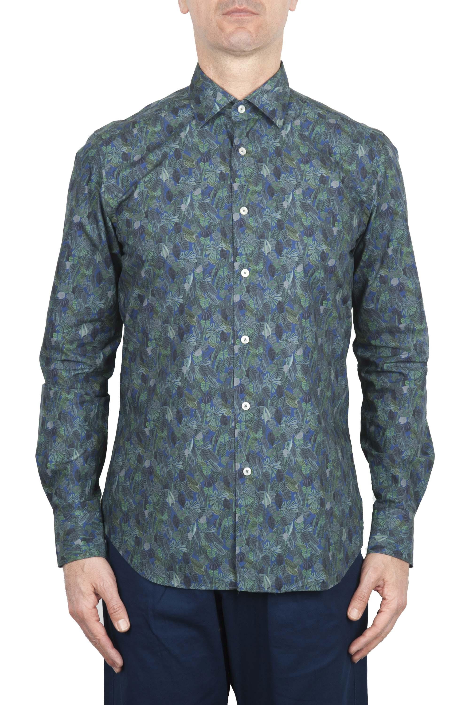SBU 01605 花柄プリントグリーンコットンシャツ 01