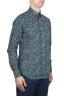 SBU 01605 Floral printed pattern green cotton shirt 02
