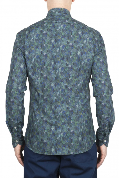 SBU 01605 Floral printed pattern green cotton shirt 01