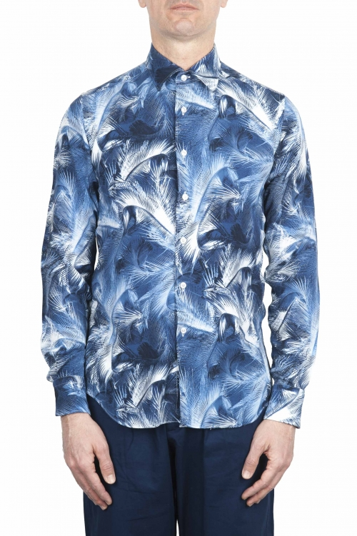 SBU 01606 Floral printed pattern blue cotton shirt 01