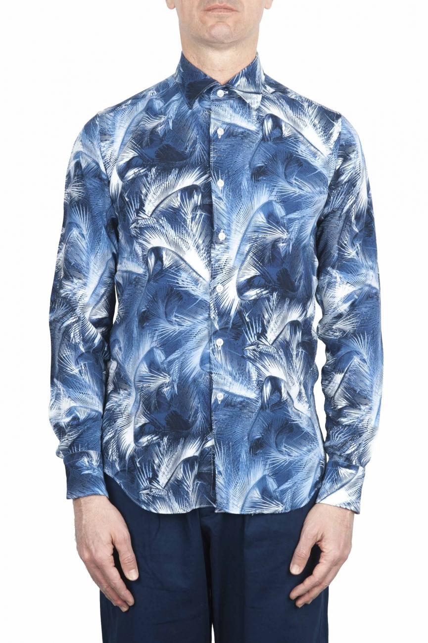 SBU 01606 花柄プリントブルーコットンシャツ 01