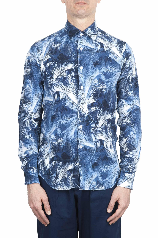 SBU 01606 Chemise en coton bleu à imprimé fleuri 01