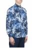 SBU 01606 Chemise en coton bleu à imprimé fleuri 02
