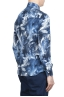 SBU 01606 Floral printed pattern blue cotton shirt 04