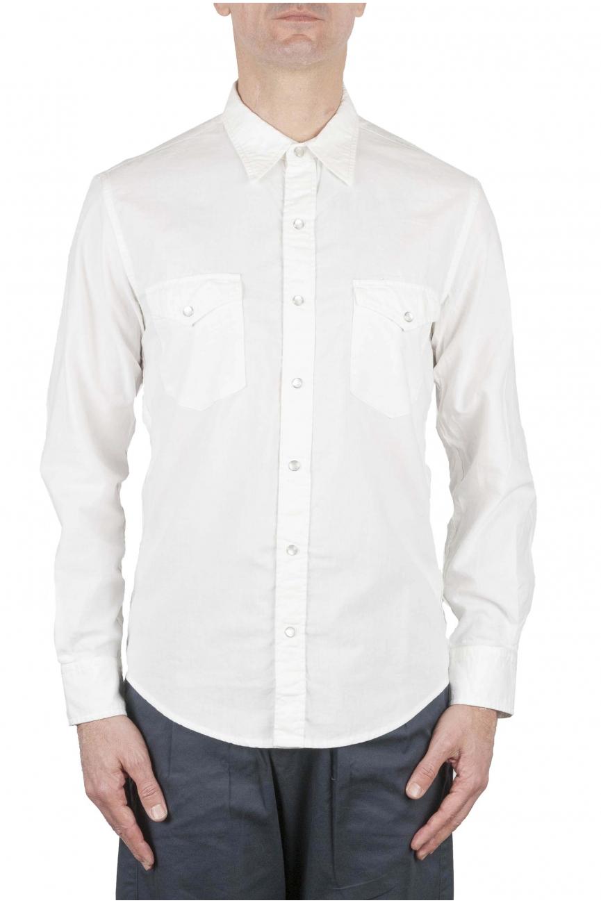 SBU 01612 Chemise western en coton chambray blanc 01