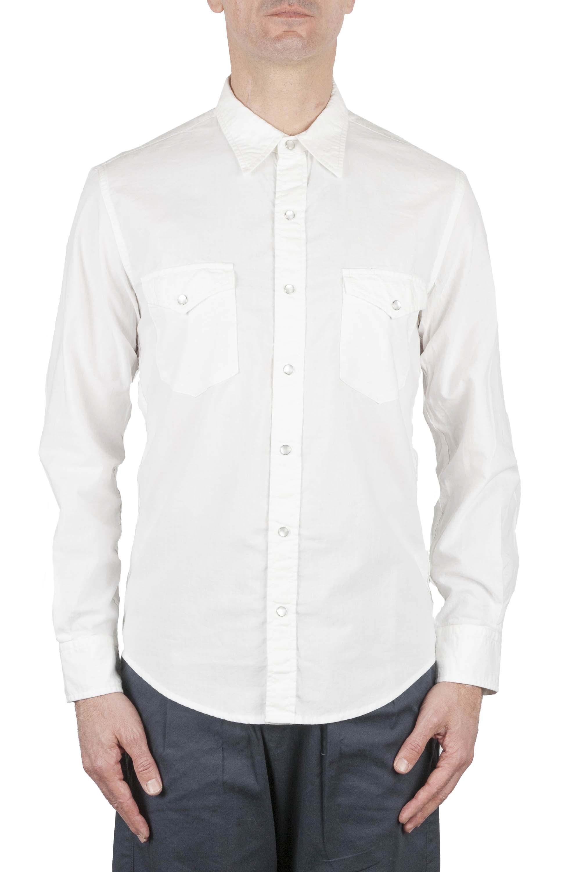 SBU 01612 Camisa vaquera blanca de algodón chambray 01