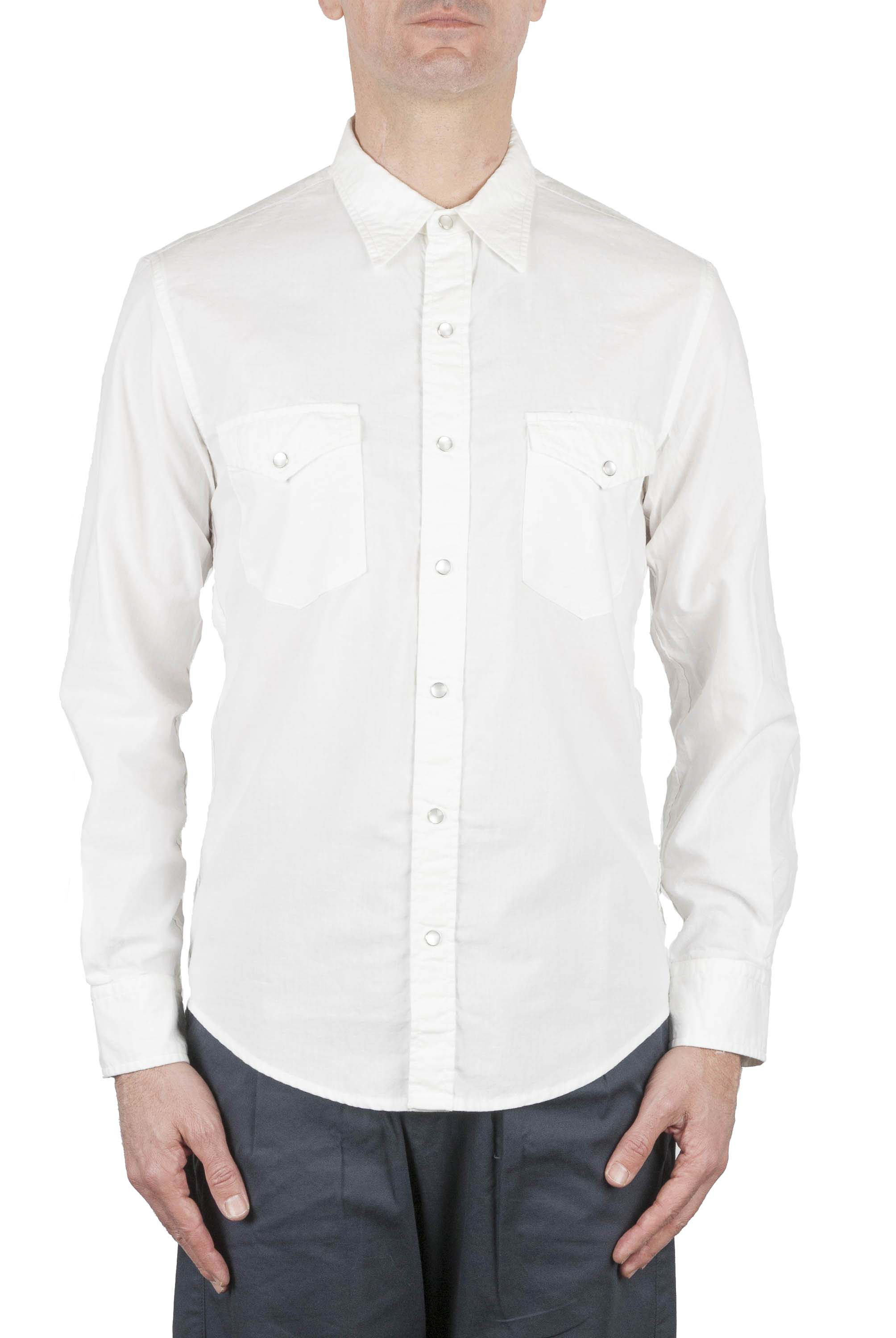SBU 01612 White chambray cotton western shirt 01