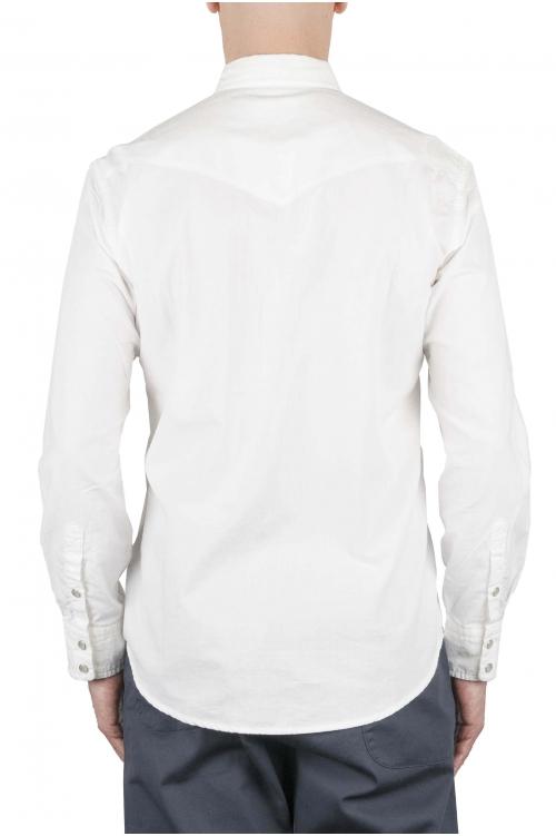 SBU 01612 ホワイトシャンブレーコットンウエスタンシャツ 01