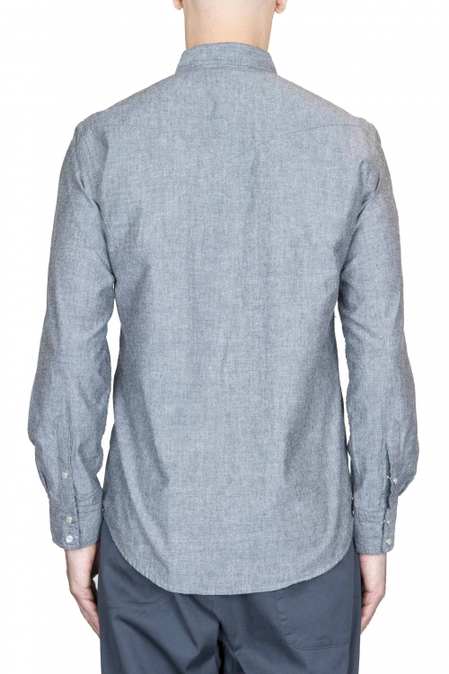 SBU 01613 Grey chambray cotton western shirt 01