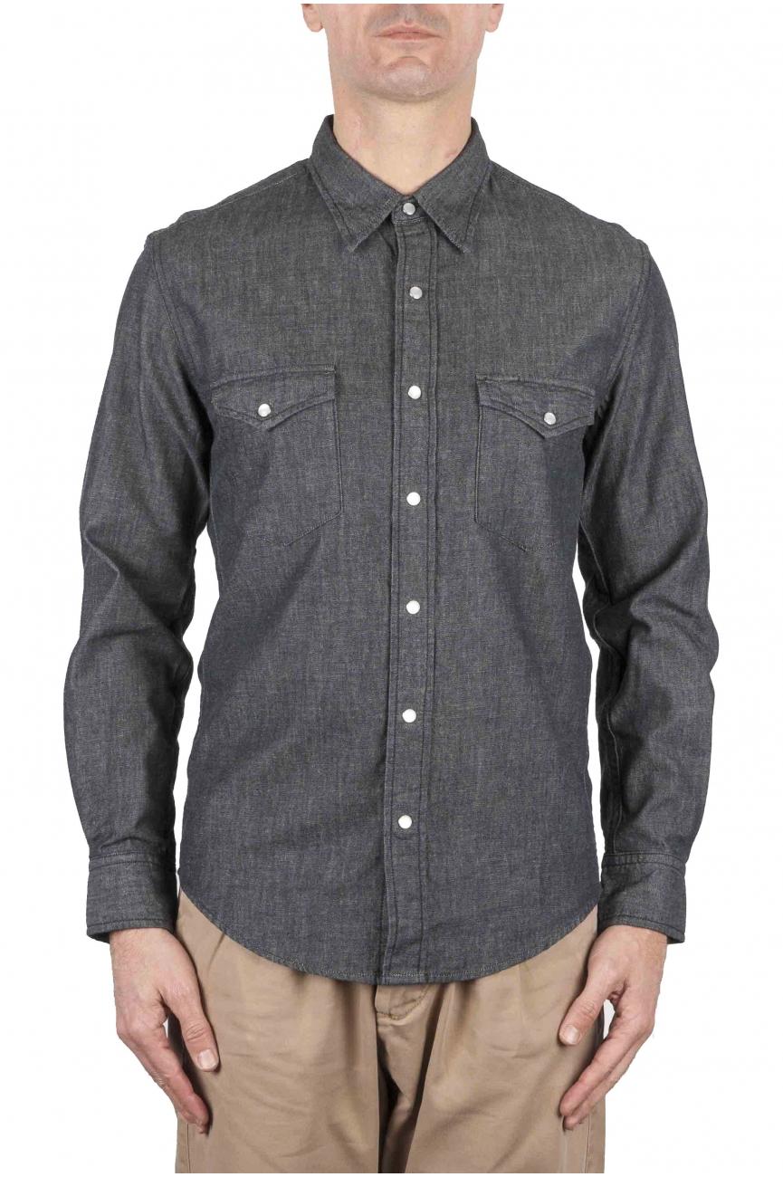 SBU 01614 Dark grey chambray cotton western shirt 01