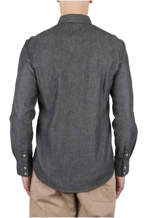 SBU 01614 Camisa western de algodón chambray gris oscuro 01