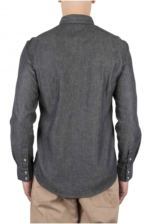 SBU 01614 Dark grey chambray cotton western shirt 01