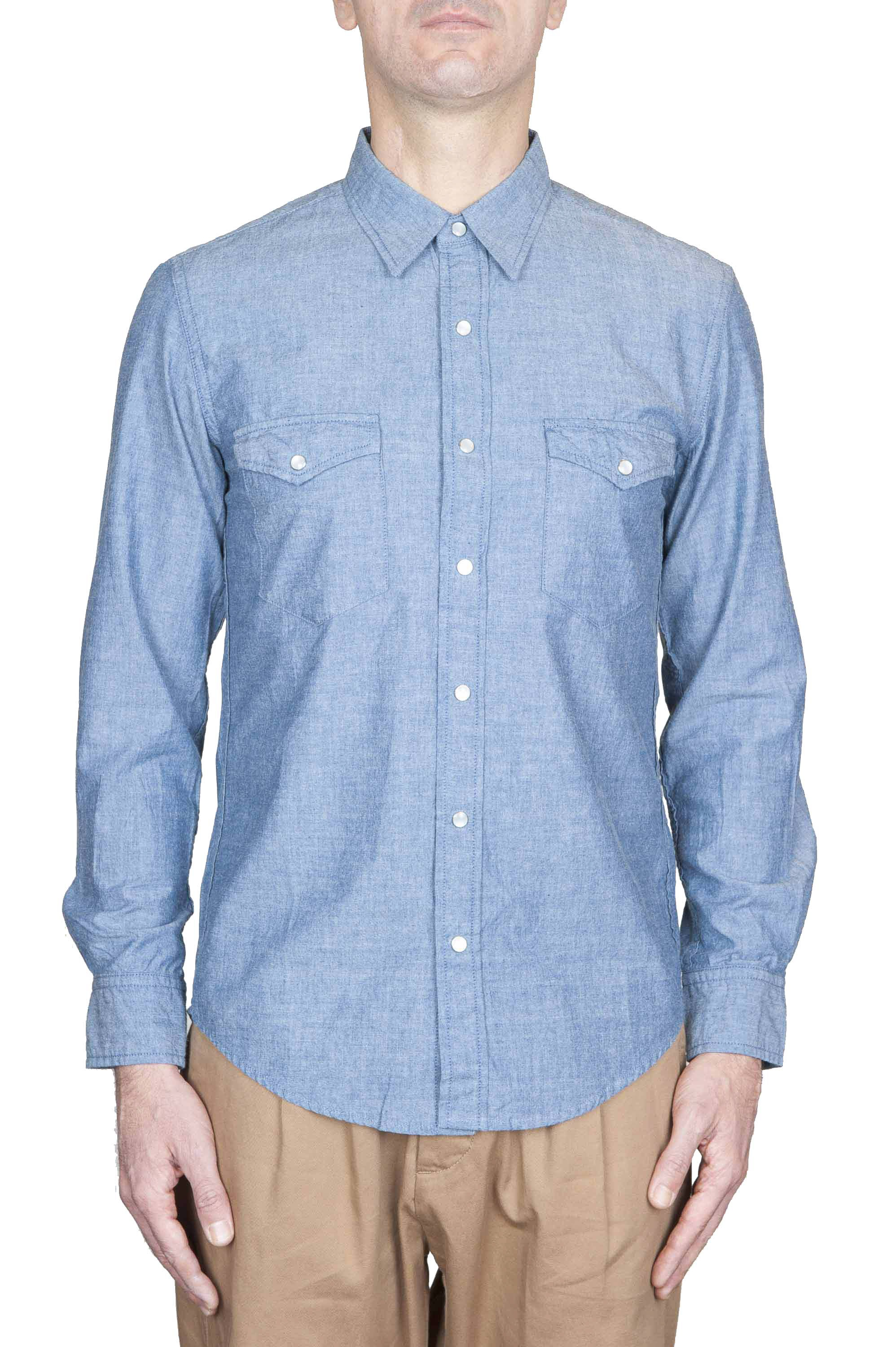 SBU 01615 Indigo chambray cotton western shirt 01