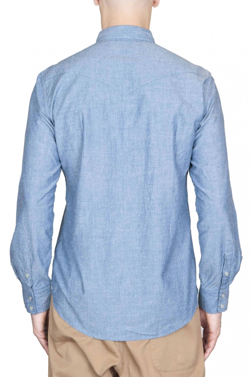 SBU 01615 Camicia western in cotone chambray indaco 01