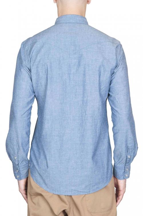 SBU 01615 Camisa western de algodón chambray índigo 01