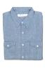 SBU 01615 Camicia western in cotone chambray indaco 06