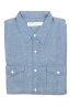 SBU 01615 Indigo chambray cotton western shirt 06