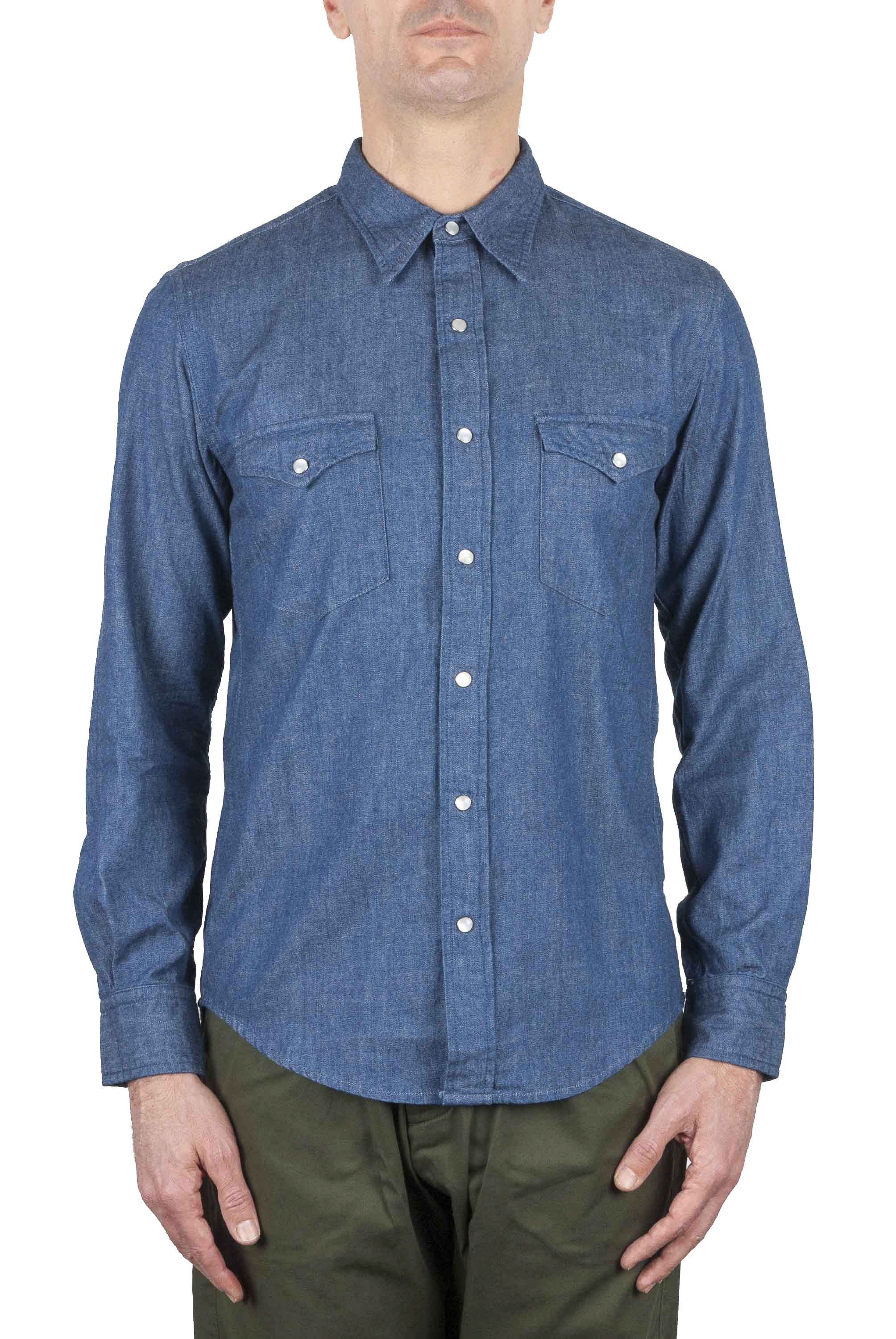 SBU 01616 Natural indigo chambray cotton western shirt 01