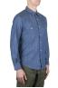SBU 01616 Camicia western in cotone chambray indaco naturale 02