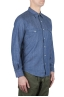 SBU 01616 Natural indigo chambray cotton western shirt 02