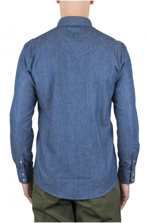 SBU 01616 Camicia western in cotone chambray indaco naturale 01