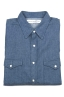SBU 01616 Camicia western in cotone chambray indaco naturale 06