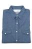 SBU 01616 Camisa western de algodón chambray índigo natural 06