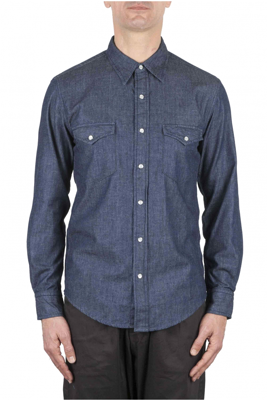 SBU 01617 Pure indigo chambray cotton western shirt 01