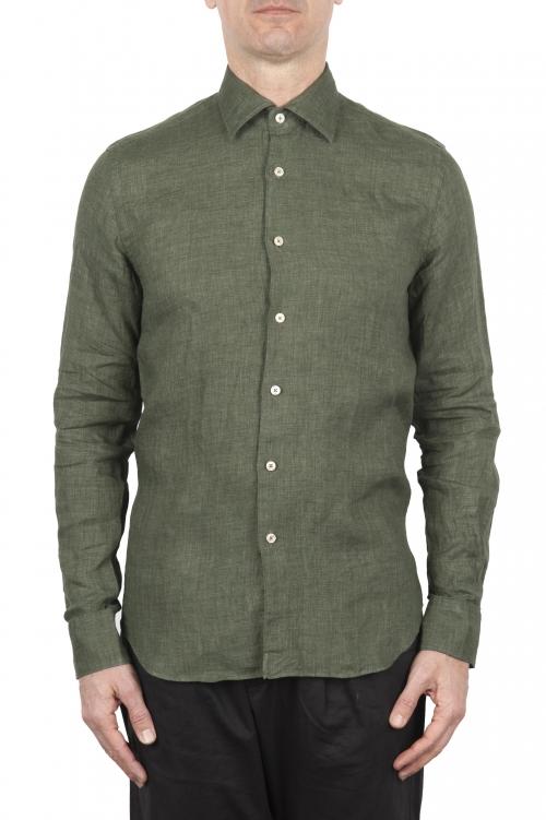 SBU 01618 Camicia classica in lino verde 01