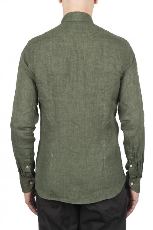 SBU 01618 Camisa clásica de lino verde 01
