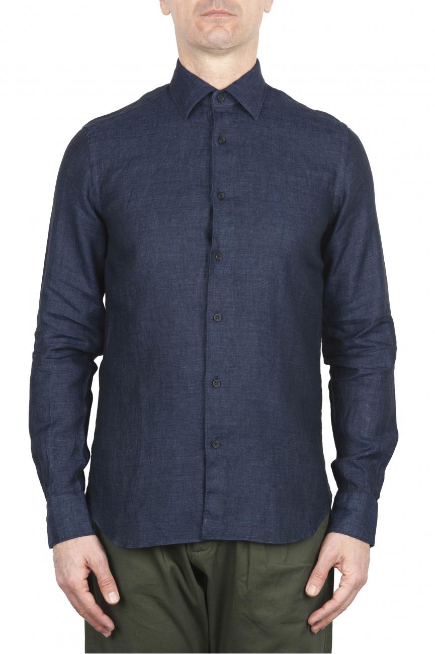 SBU 01619 Camicia classica in lino navy blu 01