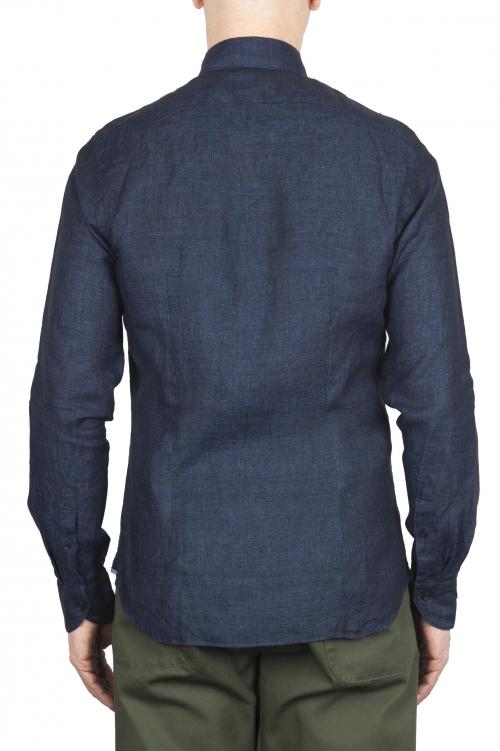 SBU 01619 Camisa clásica de lino azul marino 01